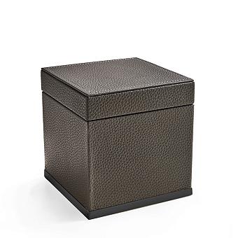3SC Milano Коробочка универсальная, 14х14хh14см, с крышкой, настольная, цвет: коричневая эко-кожа/черный матовый