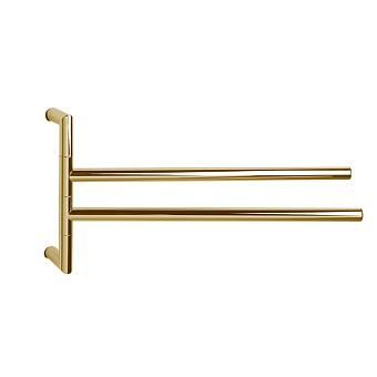 3SC Guy Полотенцедержатель двойной, поворотный, плечо 35см, цвет: золото 24к. Lucido