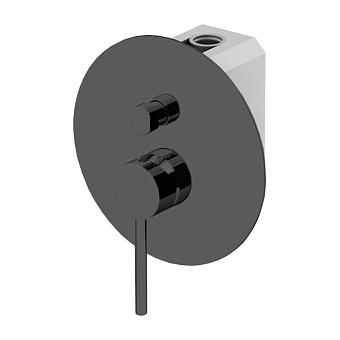 Gattoni Circle One Смеситель для душа, встраиваемый, на 2 выхода, с переключателем, с GBOX, цвет: черный матовый