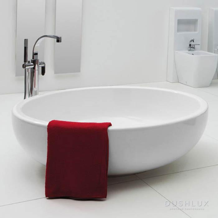 Flaminia Fontana Ванна отдельностоящая  ø135xh44см, материал: Pietraluce, цвет: bianco