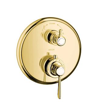 Axor Montreux Термостат с запорным/переключающим вентилем, СМ, 2 потребителя (рычажные рук.), цвет: полированное золото