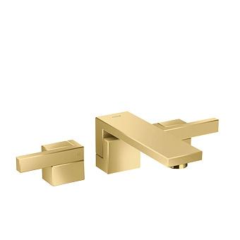 Axor Edge Смеситель для раковины, на 3 отв., с донным клапаном push/open, излив 190мм, цвет: золото