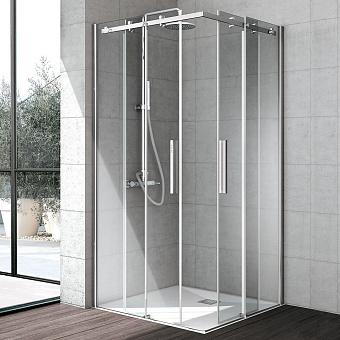 Hafro Flow Душевое ограждение с 2мя раздвижными дверцами 120х120х200h см SX, прозрачное стекло/серебро