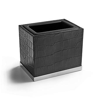 3SC Cocco Стакан настольный, отделка: черная кожа, цвет: хром