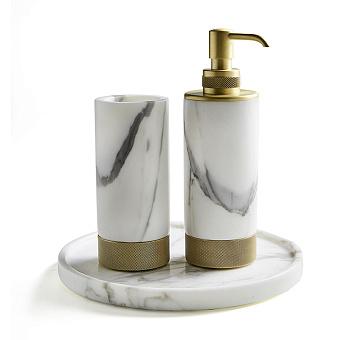 3SC Apuana 2.0 Комплект: стакан, дозатор и лоток, цвет: мрамор Bianco Statuario/золото 24к. Lucido