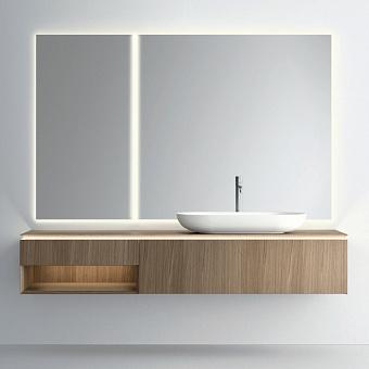 NOORTH milldue edition PURO Комплект мебели 198см в матовом шпоне, с раковиной из Cristalplant, 2-мя зеркалами с подсветкой, Цвет: rovere miele-7676
