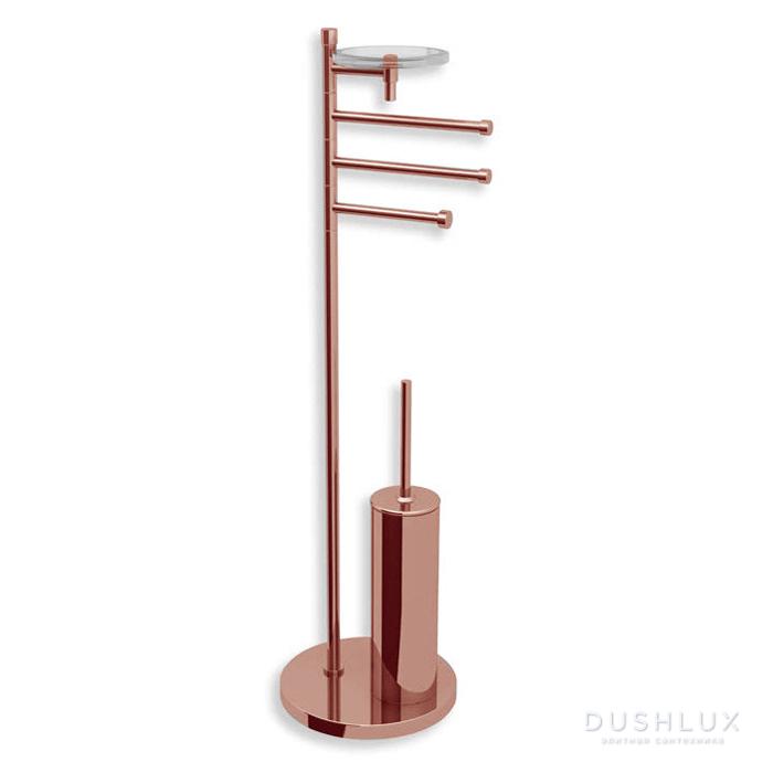 Bertocci Cinquecento Напольная стойка с ершиком и бумагодержателем, п/держателем и мыльницей, цвет: розовое золото