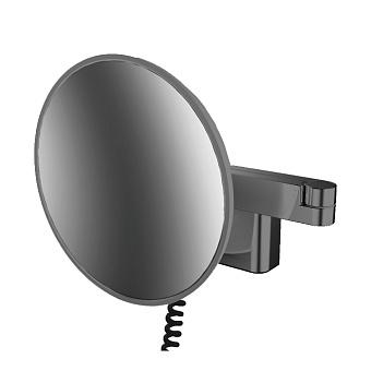 Emco Evo Косметическое зеркало, LED, Ø209mm, 2-колено, шнур, 5x увелич., подвесное, цвет: черный