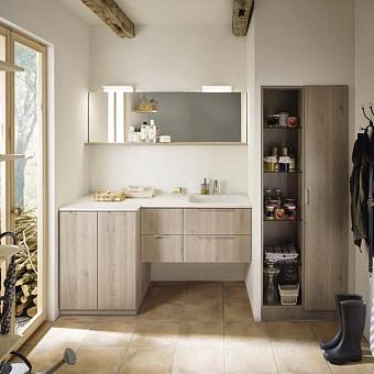 Burgbad Sys30 Комплект мебели: тумба с раковиной 600х540х601 мм, подвесная, 2 ящика, с металлическими кронштейнами, ручки хром, цвет: Eiche Dekor Flanelle