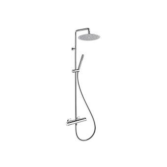 Cristina Profilo Душевой комплект: смеситель термостатический, стойка с верхним душем, ручной душ, гибкий шланг, цвет: хром