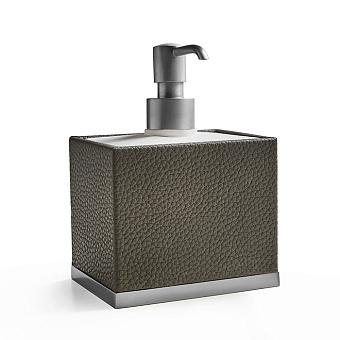3SC Milano Дозатор для жидкого мыла, настольный, цвет: коричневая эко-кожа/хром