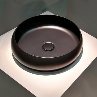 BETTECraft  Раковина-чаша 45х45х12 cм, без отв., на столешницу, круглая, без перелива, цвет: черный матовый 400