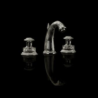 Devon&Devon Excelsior Swan Смеситель для раковины на 3 отверстия. Цвет: никель
