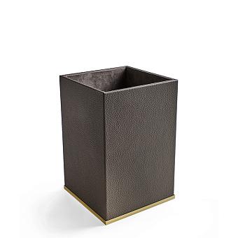 3SC Milano Ведро 20х20хh30см, цвет: коричневая эко-кожа/золото 24к. Lucido
