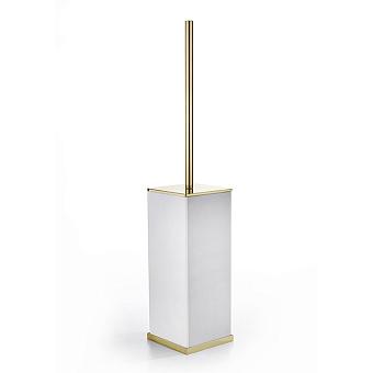 3SC Mood Deluxe Туалетный ёршик, напольный, композит Solid Surface, цвет: белый матовый/золото 24к. Lucido