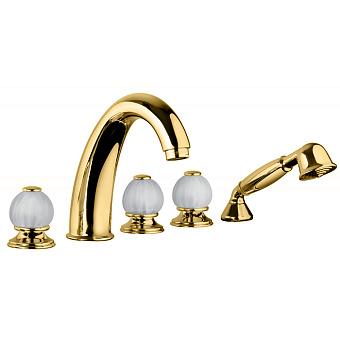 Bongio Rivoli Смеситель для ванны, 5 отв., с ручной лейкой, цвет золото/хрусталь