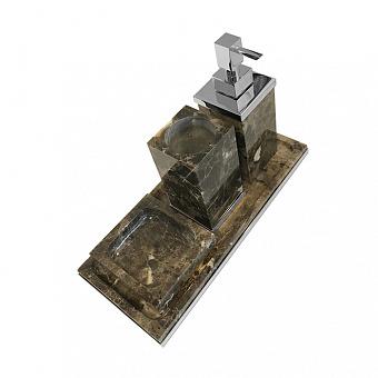 3SC Palace MARMO Комплект: стакан, дозатор, мыльница, лоток, цвет: мрамор Emperador dark/хром