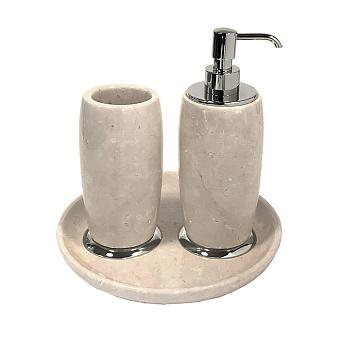 3SC Elegance Коплект: стакан, дозатор, лоток, цвет: мрамор botticino/хром