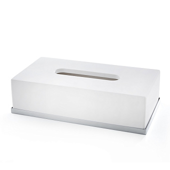 3SC Mood Deluxe White Контейнер для бумажных салфеток, 24х7х13 см, прямоугольный, настольный, композит Solid Surface, цвет: белый матовый/хром