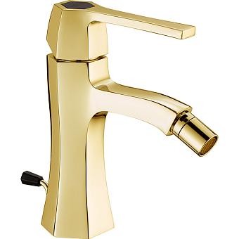CISAL Cherie Смеситель однорычажный для биде на 1 отверстие с донным клапаном, цвет: золото/черный матовый
