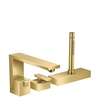 Axor Edge Смеситель на борт ванны, на 3 отв., с ручным душем, излив 210мм, цвет: золото