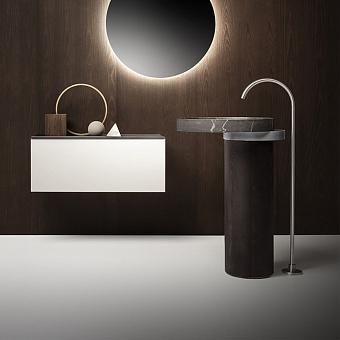 Falper Eccentrico Раковина 63x56x90 см, без отв., напольная, мраморная Pietra Grey, полотенцедержатель нержавеющая сталь, цвет: коричневый орех
