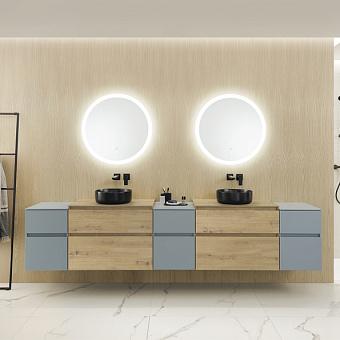 Burgbad Lin20 Комплект мебели 280х48.7х61.1см, подвесной, с 2 раковинами, с зеркалом, с 2 ящиками, цвет: Cashmere oak decor