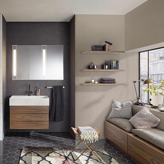 BURGBAD RC40 Комплект мебели, раковина 814 мм. белая, тумба с 2 ящиками, зеркальный шкаф с подсветкой, напольная тумба с 3 ящиками, цвет: Bambus Natur