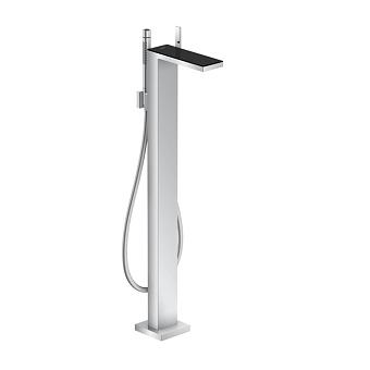 Axor MyEdition Смеситель для ванны, напольный, на 1 отв., излив 245мм, со сливным гарнитуром, цвет: хром/черное стекло