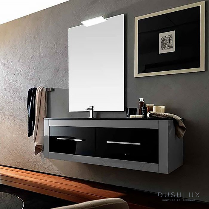 Karol Xil comp. №4, комплект подвесной мебели 142 см. цвет: Grigio Chiaro Lucido + Nero Lucido