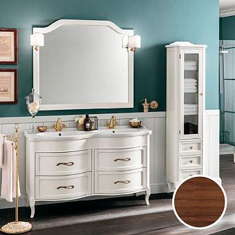 EBAN Rachele Комплект мебели: база под раковину с доводчиками Blum, с двойной раковиной, ручки золото, 140 см, Цвет: NOCE