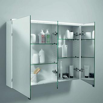 BURGBAD Eqio Зеркальный шкаф с LED подсветкой 5Вт IP24, 120х80х17см, 3 зерк. двери с обоих сторон, версия левая L, стекл полки, вкл/выкл, цвет: белый