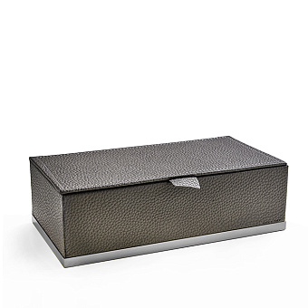 3SC Milano Коробочка универсальная, 25х13хh8см, с крышкой, настольная, цвет: коричневая эко-кожа/хром