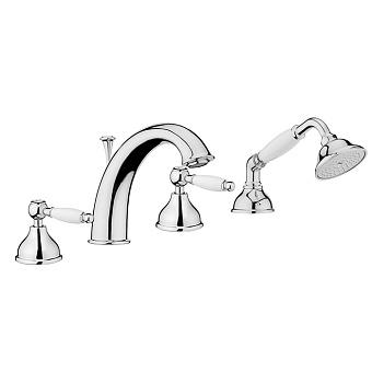 Смеситель на борт ванны Webert Dorian DO730101 Хром/белый