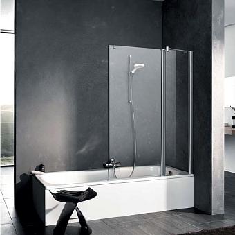 Kermi Pega Штора на ванну PE DTR 1100x1500, глянцевое серебро, прозрачное стекло