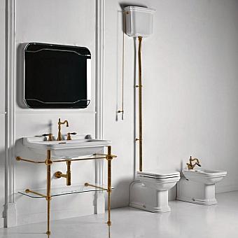 KERASAN Waldorf Консоль с раковиной и зеркалом 120х50см, на 3 отв, цвет: бронза