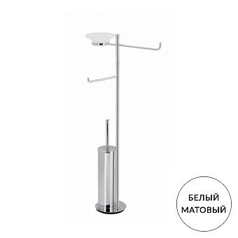 StilHaus Hashi Стойка с мыльницей, полотенцедержателем, держателем для туалетной бумаги и ершиком металлическим, напольная, цвет: белый матовый