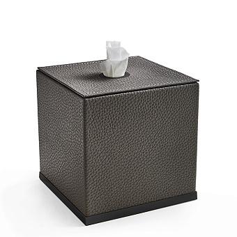 3SC Milano Контейнер для салфеток, 14х14хh14 см, настольный, цвет: коричневая эко-кожа/черный матовый