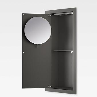 Armani Roca Island Встраиваемый шкафчик 25х13.1хh55см с зеркалом, розетками, полочкой и подсветкой (транформатор 12V/DC не включен) SX, цвет: nero