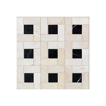 Devon&Devon Elite Плитка из натурального камня 60x60см, универсальная, мрамор, elite 4, цвет: crema marfil/black marquinha