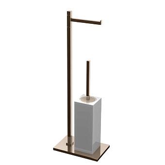 Bertocci Settecento Напольная стойка с ершиком и бумагодержателем, цвет: белый матовый композит/nichel mat