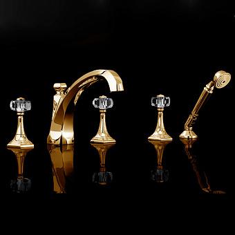 Devon&Devon Excelsior Gemstone Смеситель для ванны на пять отверстий, цвет: золото 24к