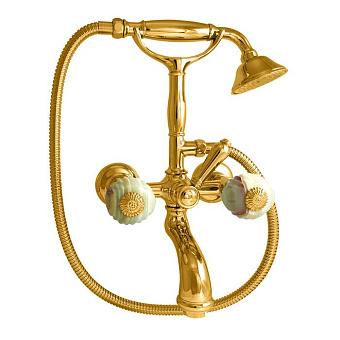 Nicolazzi Onice Смеситель для ванны с 2мя ручками, с переключателем ванна/душ, цвет: золото