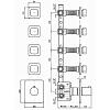 Zucchetti Soft Термостатический встроенный смеситель, с 4 запорными клапанами, цвет: хром