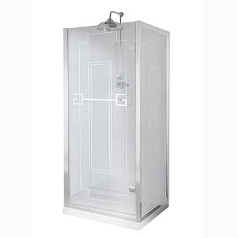 Душевое ограждение Gentry Home Athena 80х190 см угловое (слева/справа), дверь, фиксированная панель, прозрачное, закаленное стекло 8 мм с греческим матовым декором, ручка и профиль - хром