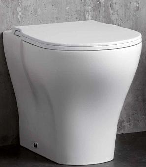 AZZURRA XL Унитаз напольный 60х42см ,слив универсальный,  цвет белый, с креплением с сиденьем белым, петли хром