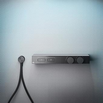 Gessi Hi-Fi Термостат для душа, с вкл. до 2 источников одновременно, с полкой из черного мат. стекла, цвет: Black Metal Brushed PVD