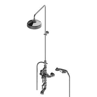 Stella Italica Leve Душевой комплект IS3274/33-220: термостатический смеситель с изливом для ванны, штанга+ручной+верхний душ 220мм, цвет: хром