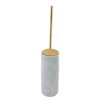 3SC Elegance Туалетный ёршик, напольный, цвет: мрамор bianco carrara/золото 24к. Lucido