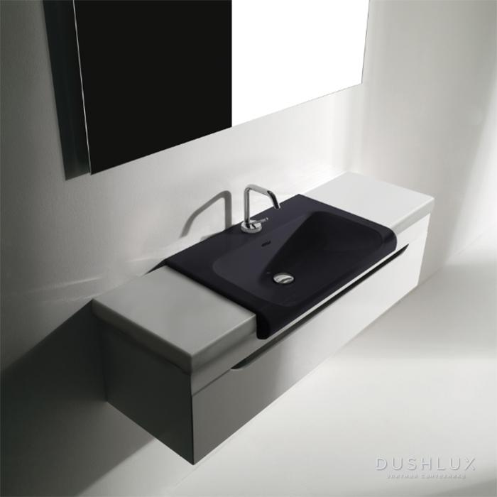 KERASAN Inka Project База INKA  подвесная, для установки раковины посередине, с раковиной цвет черный матовый, 120см,  Цвет: белый глянцевый , панель цвет белая глянцевая